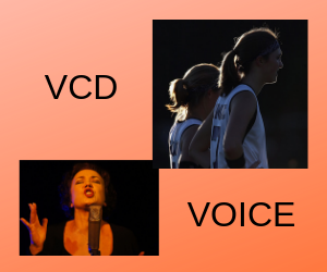 Logo for VCD and Voice with a singer and atheles